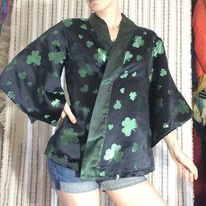 Irish Clover Silk Handmade Kimono Robe Ireland